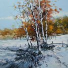 Winter Original Oil Painting Landscape Trees Snow Forest Palette Knife Art Countryside