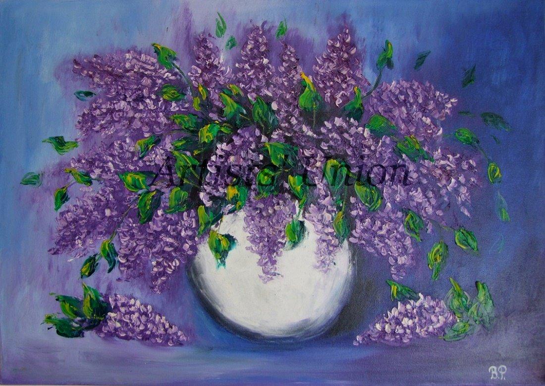 Lilacs Original Oil Painting Still Life Purple Flowers Palette Knife Art White Vase