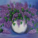 Lilacs Original Oil Painting Still Life Purple Flowers Palette Knife Art White Vase