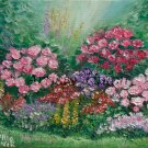 Summer Garden Original Oil Painting Impasto Colorful Flowers Palette Knife Art Linen Canvas