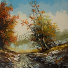 Autumn Original Oil Painting Landscape Trees Palette Knife Art Road Snow Winter Countryside