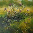 Gossamer Original Oil Painting Landscape Wild Flowers Thistle Meadow Art Summer