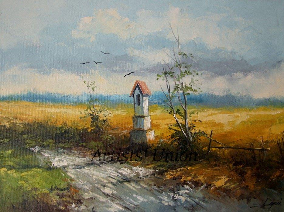 Summer Original Oil Painting Chapel Landscape Fields Road Small Shrine Palette Knife Art Countryside