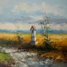Summer Original Oil Painting Chapel Landscape Fields Road Small Shrine Palette Knife Art Countryside