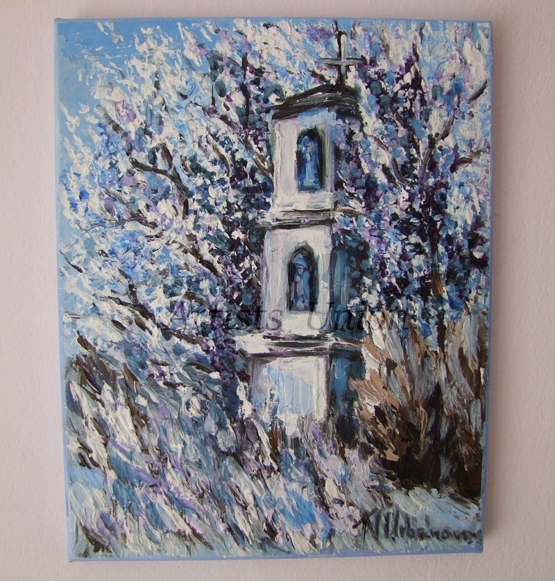 Winter Chapel Original Oil Painting Landscape Tree Small Shrine Blue Fine Art Palette Knife Textured
