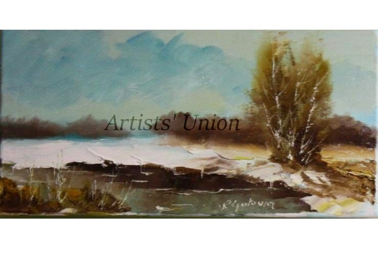 Winter Original Oil Painting River Landscape Birch Tree Impasto Field Countryside Offer
