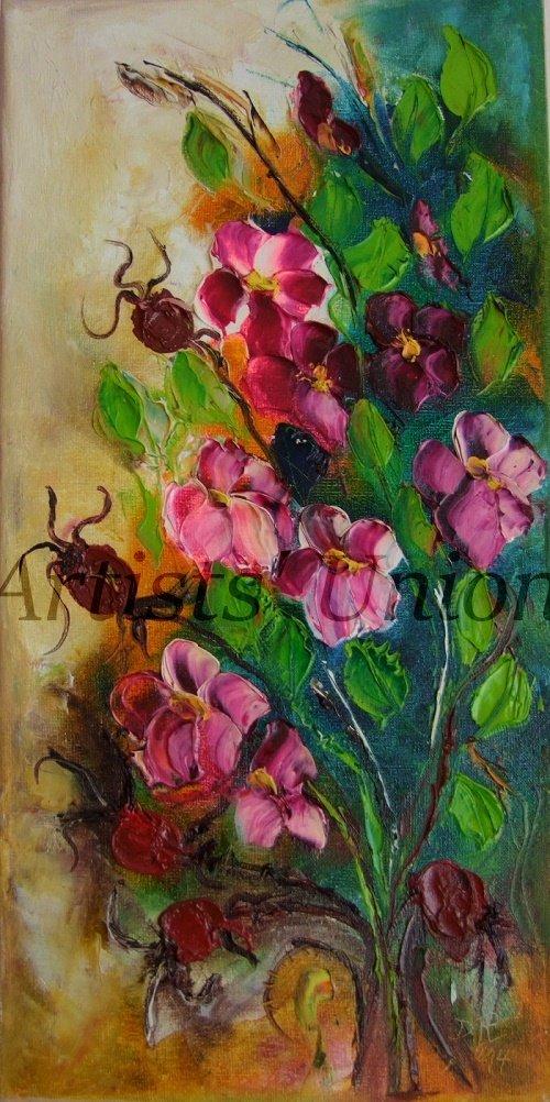 Wild Roses Original Oil Painting Still Life Impasto Pink Flowers Palette Knife Art