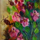 Wild Roses Original Oil Painting Still Life Impasto Pink Flowers Palette Knife Art