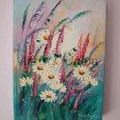 White Daisies Original Oil Painting Meadow Lavender Wild Flowers Impasto Textured Art