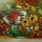 Autumn Bouquet Original Oil Painting Impasto Fall Still Life Palette Knife Art Flowers