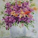 Purple Flowers Original Oil Painting Still Life Palette Knife Art Violets Impressionism