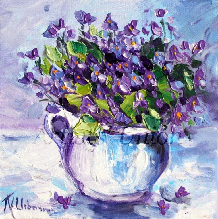 Violets Original Oil Painting Still Life Purple Flowers Fine Art Jug Impasto Palette Knife