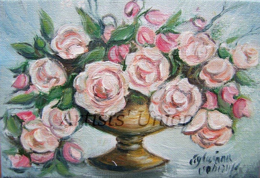 Roses Original Oil Painting Bouquet Floral Fine Art Vase Impasto Palette Knife Linen Canvas