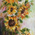 Sunflowers Original Oil Painting Still Life Palette Knife Art Impasto Yellow Wild Flowers