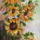 Sunflowers Original Oil Painting Still Life Palette Knife Art Impasto Yellow Wild Flowers