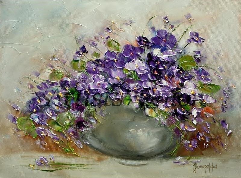 Violets Original Oil Painting Still Life Purple Flowers Impasto Palette Knife Textured Art
