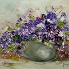 Violets Original Oil Painting Still Life Purple Flowers Impasto Palette Knife Textured Art