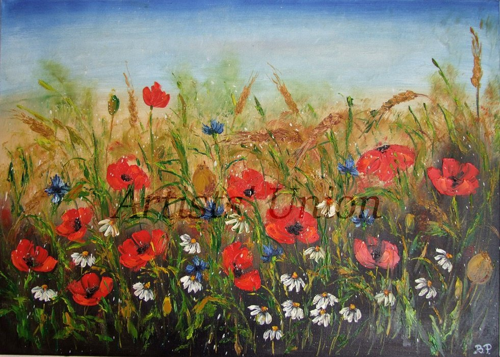Summer Meadow Original Oil Painting Red Poppies Landscape Palette Knife Impasto Wild Flowers