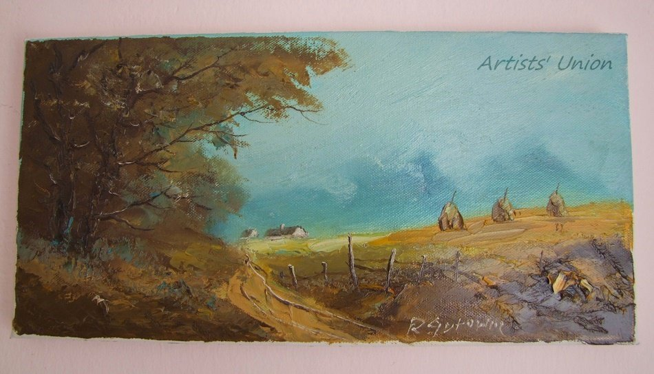 Autumn Haystacks Original Oil Painting Landscape Birch Trees Cottage Country Road Fall Field Impasto