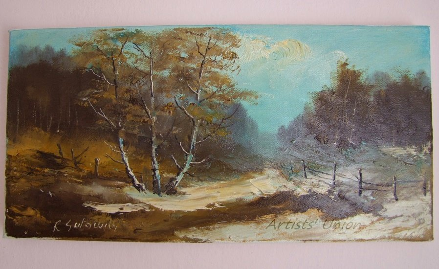 Winter Original Oil Painting Forest Late Autumn Landscape Birch Trees Impasto Field Countryside
