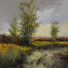 Landscape Original Oil Painting Fields Trees Road Palette Knife Art Countryside Laputz Sky Storm