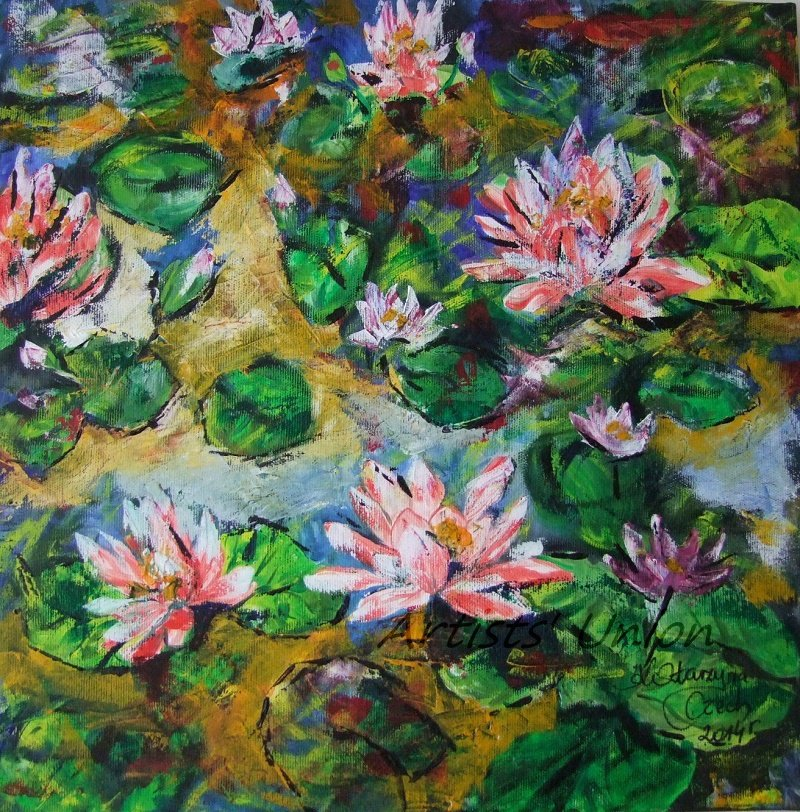 Water Lilies Original Oil Painting Pond Pink Flowers Impressionism Palette Knife Art Square