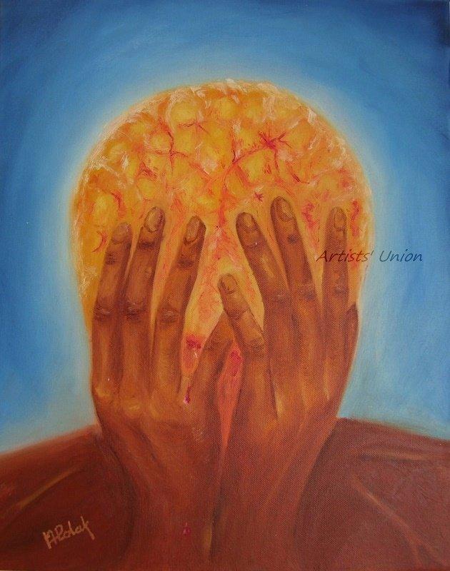 Surrealism Original Oil Painting Figurative Fine Art Portrait Brain Storm Hands Red Blue
