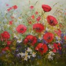 Red Poppies Meadow Original Oil Painting Daisies Landscape Wild Flowers Palette Knife Art Impasto
