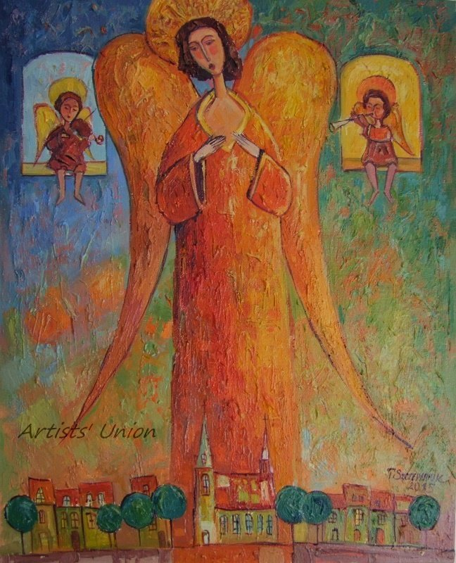 Angels Original Oil Painting Portrait Figurative Art Cityscape Religion Violin Textured Art Orange