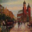 Cityscape Original Oil Painting Cracow Walking People Rain Figurative Fine Art Horse Hansom Cab