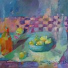 Still Life Lemons Original Oil Painting Colorful Fine Art Bottles Bowl Blue Purple Orange