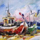 Fishing Boats Original Oil Painting Seascape Impasto Palette Knife Colorful Shore Beach Blue Red