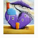Purple House Original Oil Painting Surrealism Heart Tree Bicycle Contemporary Fantasy Modern Large