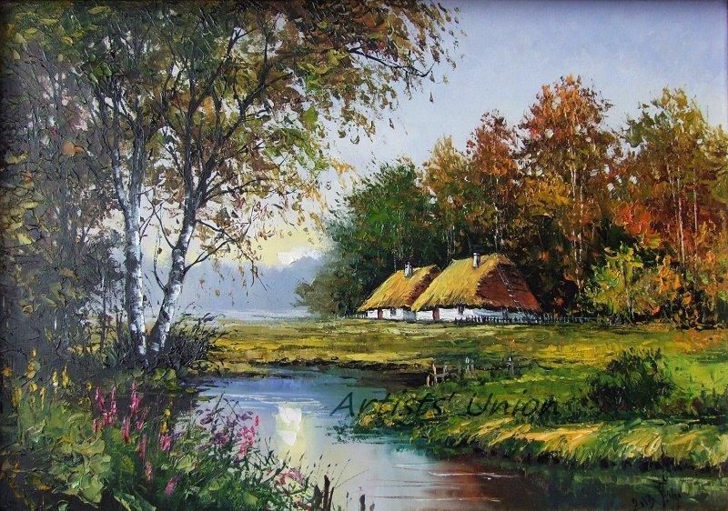 Autumn Original Oil Painting Landscape Birch Trees River Fall Forest Cottage Impasto Palette Knife