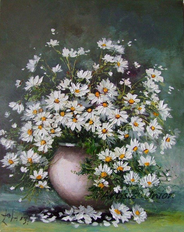 s-White Daisies Still Life Original Oil Painting Palette Knife Art Impasto Wild Flowers Ceramic Vase