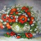 Red Poppies Oil Painting Still Life Original Art White Daisies Palette Knife Impasto Wild Flowers