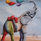 Whimsical Elephant Original Oil Painting Surrealism Contemporary Fine Art Fantasy Big Modern Animal