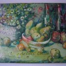 Still Life Original Oil Painting Fine Art Flowers Fruits Pomegranate Apple Wine Bottles Bowl Vase