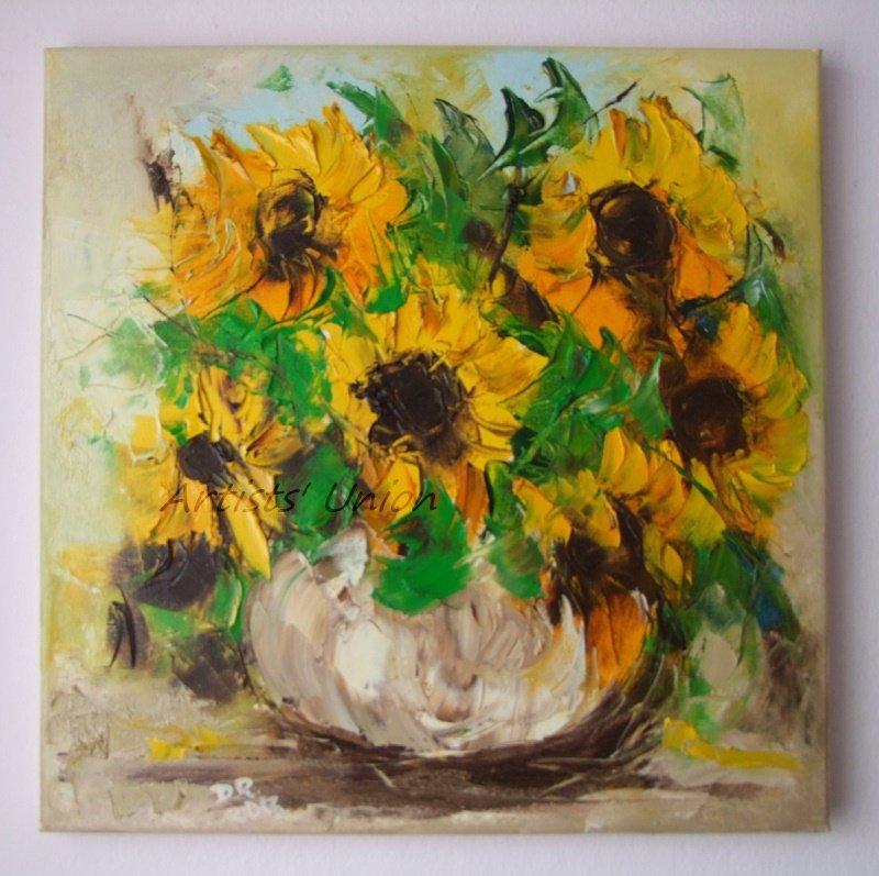 Sunflowers Original Oil Painting Still Life Flowers Impressionism Impasto Palette Knife Art Square