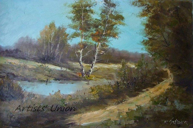 Autumn Original Oil Painting Landscape Lake Birch Trees Palette Knife Art Fall Fields Road