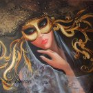 Venetian Original Oil Painting Woman Portrait Hat Mask Venice Carnival Costume Lace