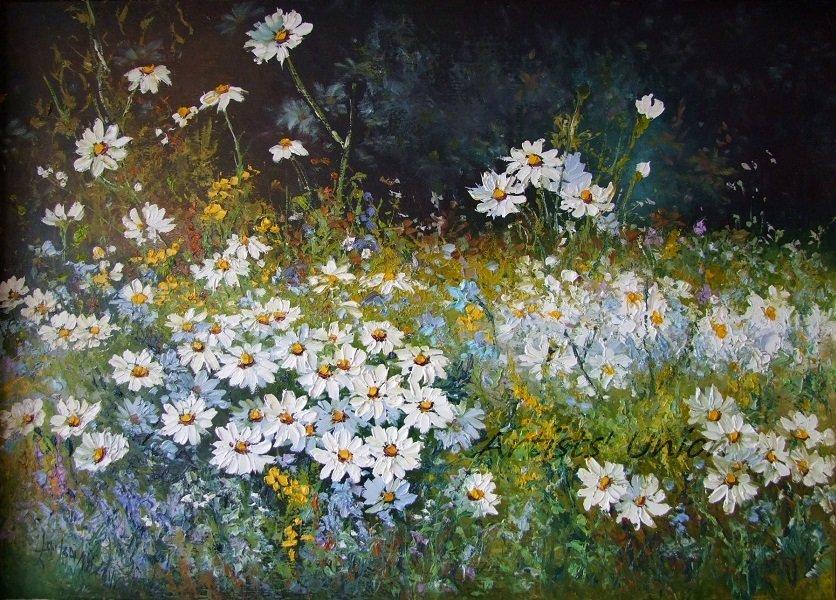 White Daisies Meadow Original Oil Painting Palette Knife Impressionism Impasto Wild Flower Landscape