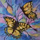Butterflies Original Oil Painting Butterfly Fine Art Spring Animal Palette Knife Colorful