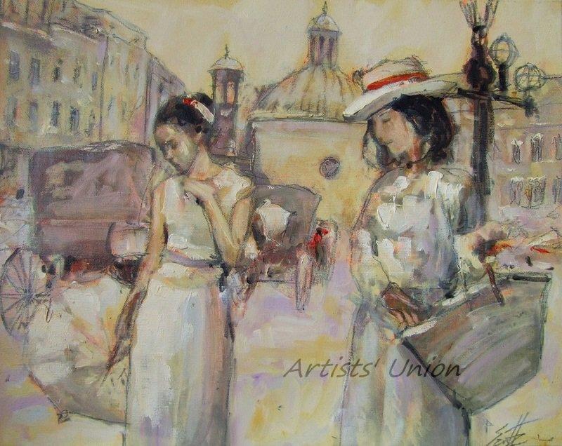 Cityscape Women Original Oil Painting Old Town Figurative Art Cabs Umbrella Palette Knife Sun Hat