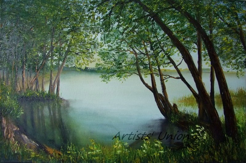 Lake Original Oil Painting Landscape Forest Trees Spring Palette Knife Fine Art Green