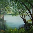 Lake Original Oil Painting Landscape Forest Trees Spring Palette Knife Fine Art Green