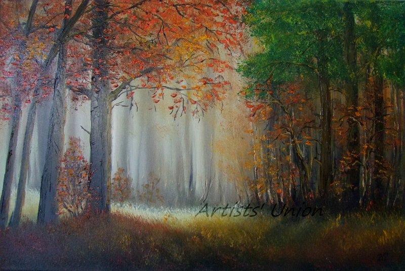 Autumn Glade Original Oil Painting Landscape Forest Fall Trees Palette Knife Fine Art Leaves