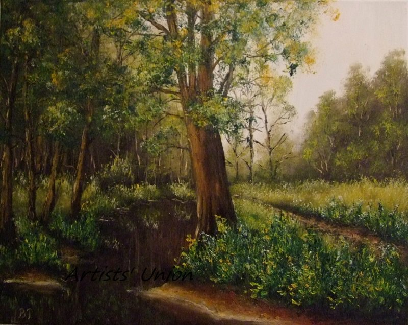 Forest Stream Original Oil Painting Landscape Trees Spring River Palette Knife Fine Art