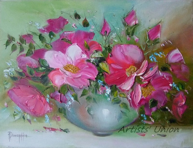 Pink Roses Original Oil Painting Impasto Still Life Palette Knife Art Wild Flowers