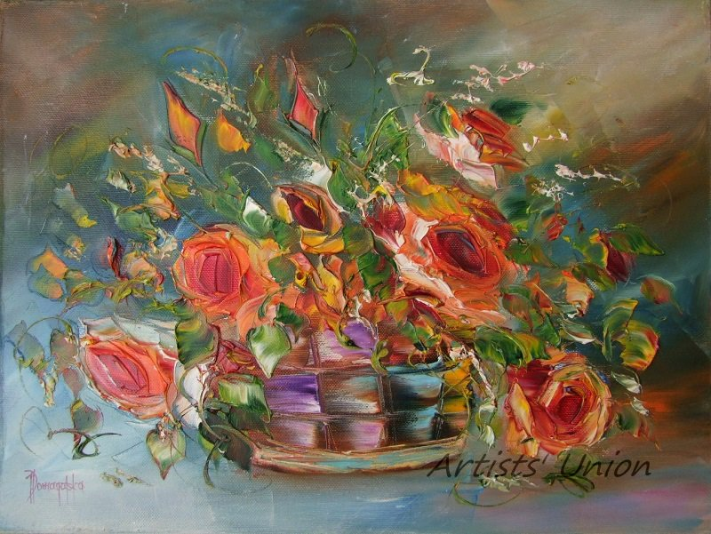 Roses Original Oil Painting Still Life Impasto Orange Flowers Bouquet Palette Knife Fine Art